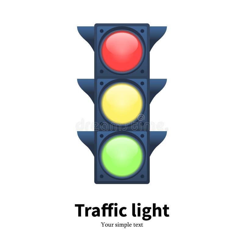 Signal för trafikljus för vektorillustration lysande royaltyfri illustrationer