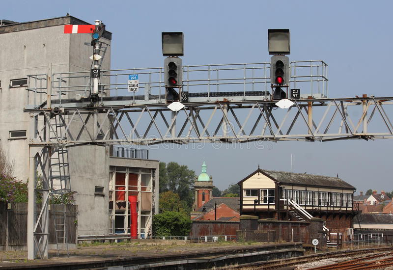 Signal gantry and signal box at Shrewsbury station stock photography