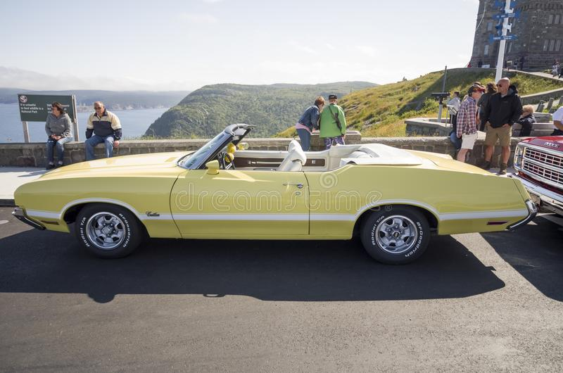 1970 Olds Cutlass Convertible. Signal Hill St. John`s Newfoundland Canada August 5, 2017: The Olds Cutlass came in seven models and became one of GM`s best royalty free stock image