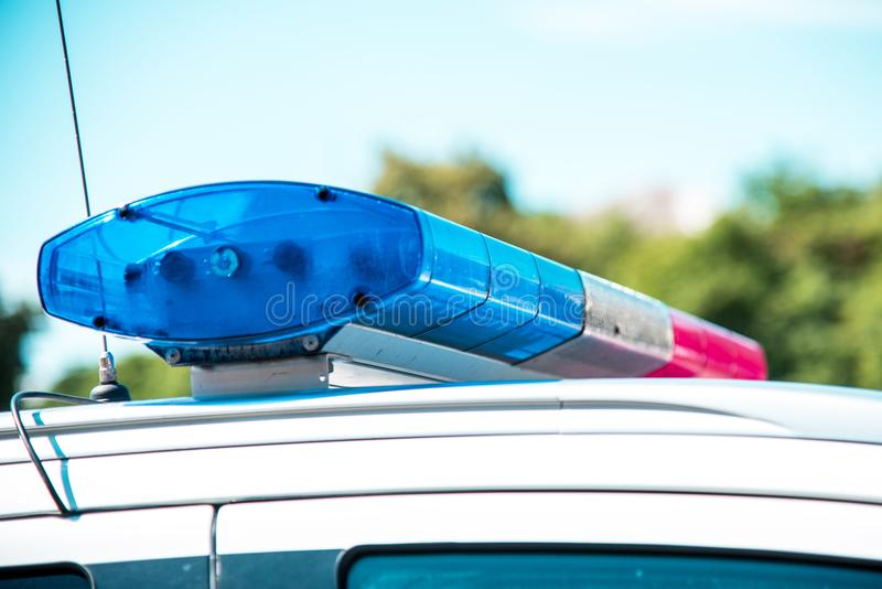Signal lamp on the police car close-up. Security, help, law - c. Oncept stock photography
