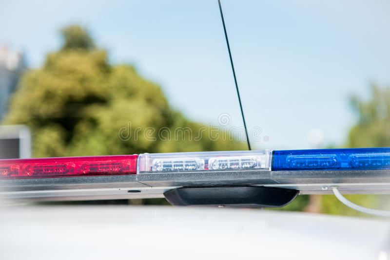 Signal lamp on the police car close-up. Security, help, law - c. Oncept royalty free stock photography