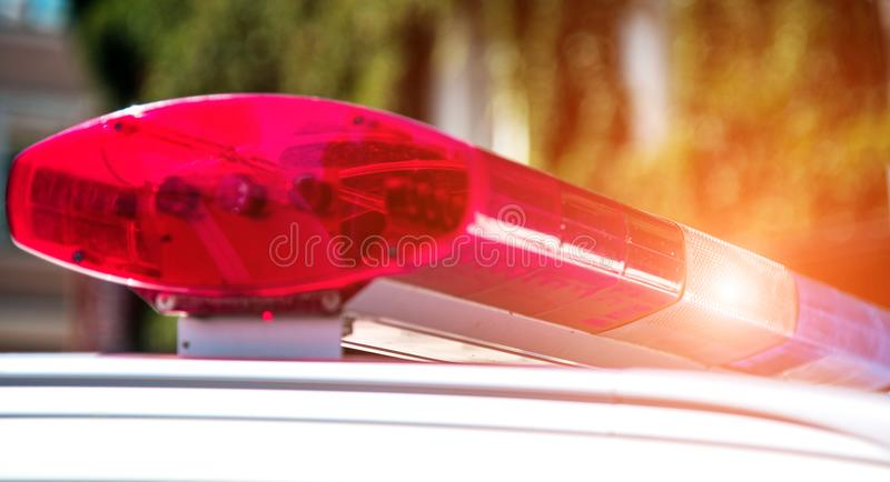 Signal lamp on the police car close-up. Security, help, law - c. Oncept stock images