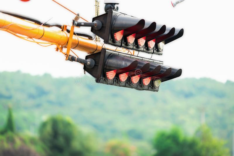 Signal lights for the car to start at the starting point. royalty free stock photography