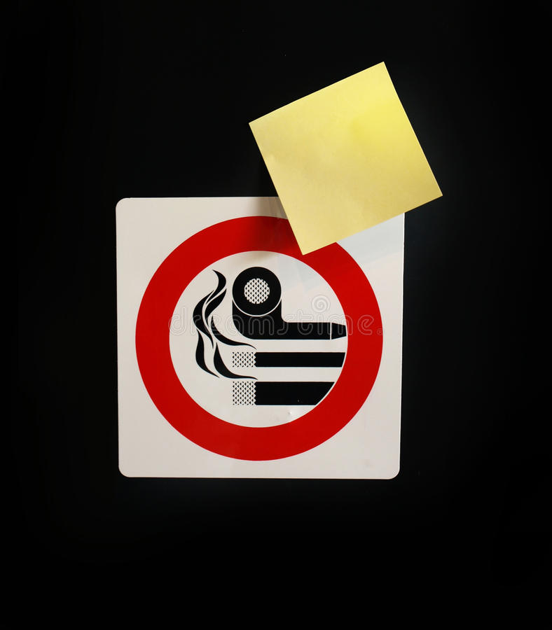 Signal and post-it. No smoking signal and post-it stock photography