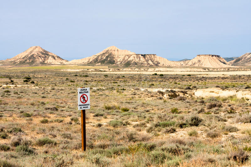Signal saying Militar Area in Bardenas Reales. The Bárdenas Reales is a semi-desert natural region, or badlands, of some 42,000 hectares (100,000 acres) in royalty free stock photo
