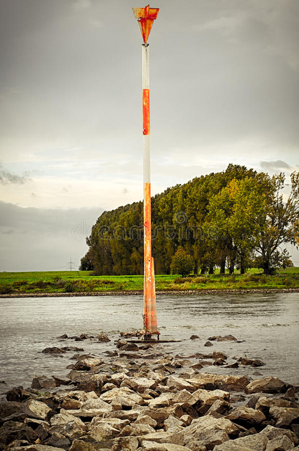 Signal for the ship traffic. At rhine royalty free stock photos