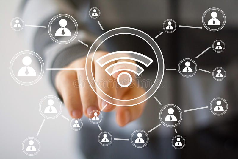 Signal social de wifi d'homme d'affaires d'interface réseau image stock