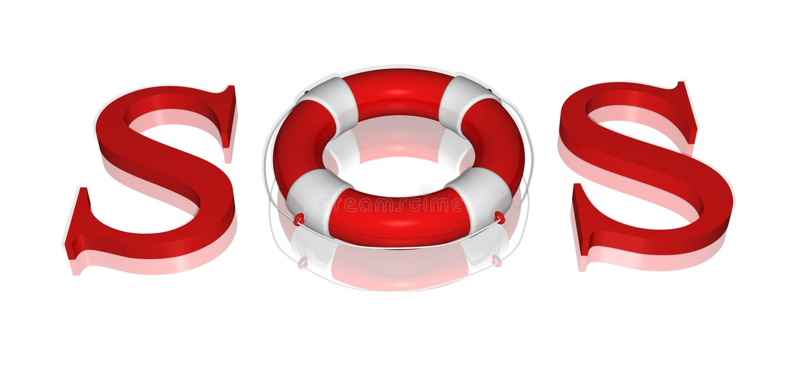 Signal SOS text by life buoy