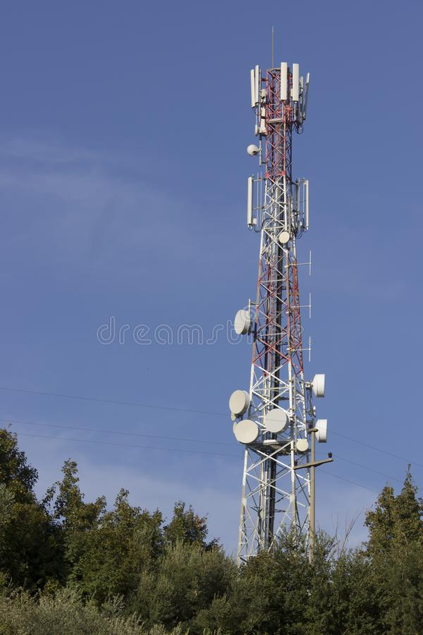 Signal tower. With communication antennas with receptors and emitters stock image