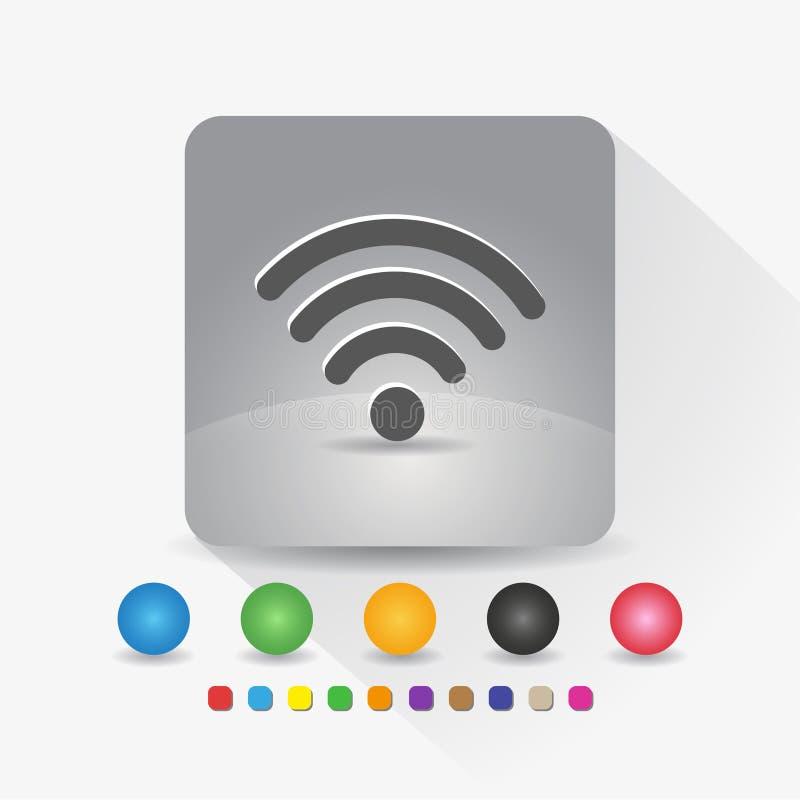 Signal wifi Ikone Zeichensymbol App in der runden Ecke der grauen quadratischen Form mit langer Schattenvektorillustration und Fa vektor abbildung