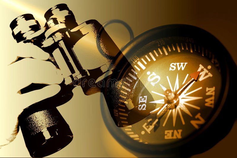 signaler för sepia för holding för kikarekompasshand arkivfoto