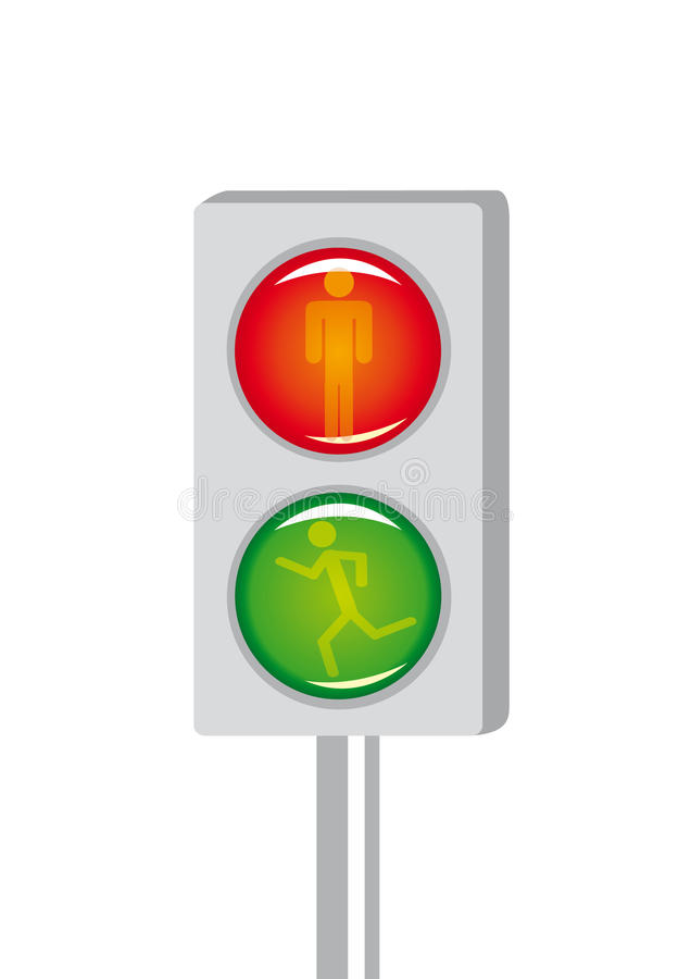signalering för gångare för tecknad filmcrossinglampa vektor illustrationer