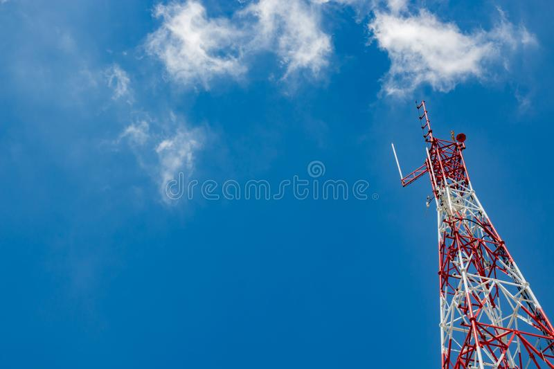 Signaling pole has a background sky. And a clouds , background stock image