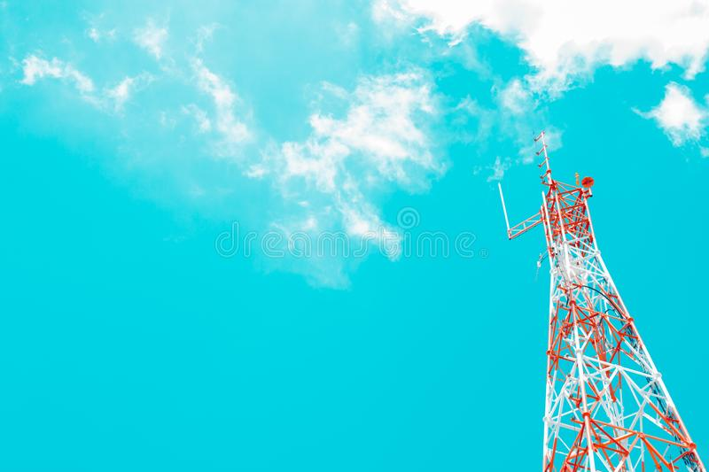 Signaling pole has a background sky and a clouds. Background royalty free stock photography
