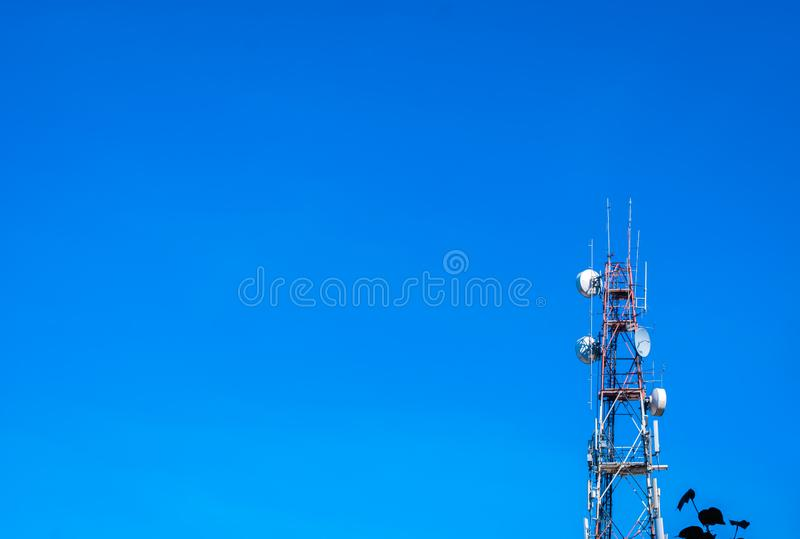 Signaling pole or Telecommunication pole with blue sky stock photography