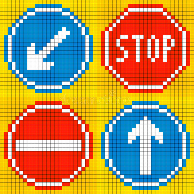 signalisation à 8 bits de route de pixel illustration libre de droits