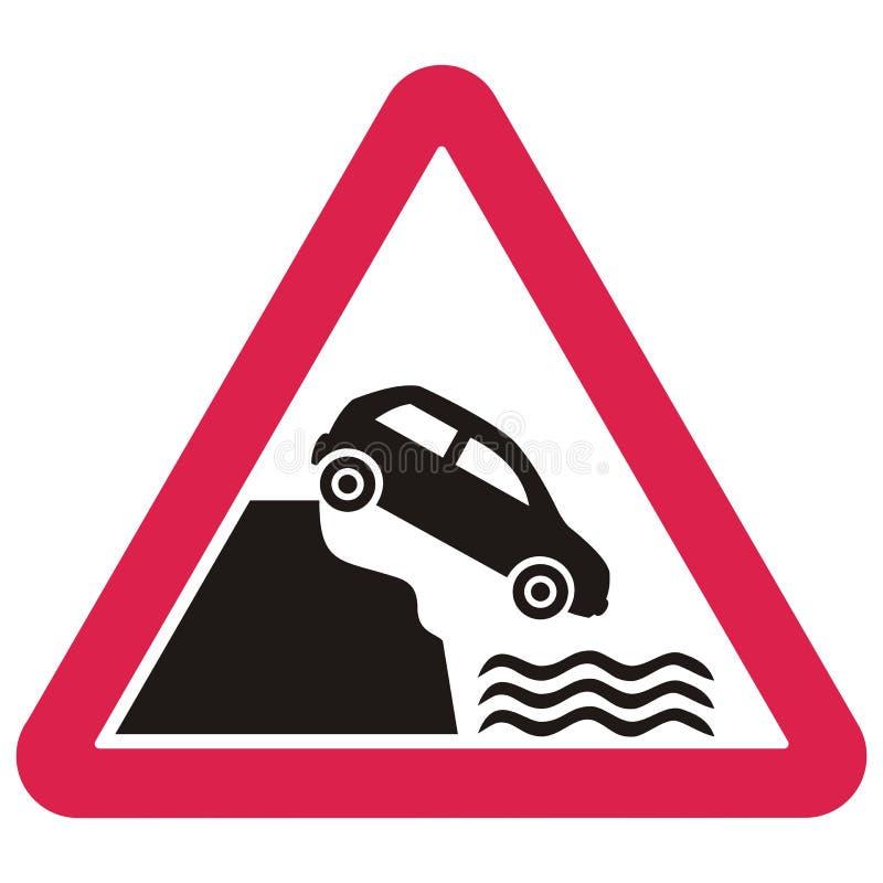 Signalisation d'avertissement, voiture tombant de la pente dans l'eau illustration libre de droits