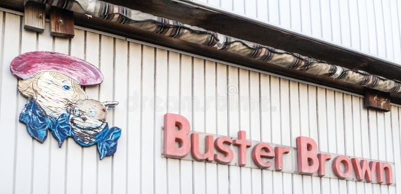 Signalisation nostalgique Buster Brown bande dessinée caractère photographie stock