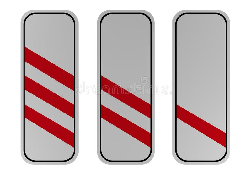 Signalisation : trois, deux et à voie unique faisceaux devant le Ra illustration stock