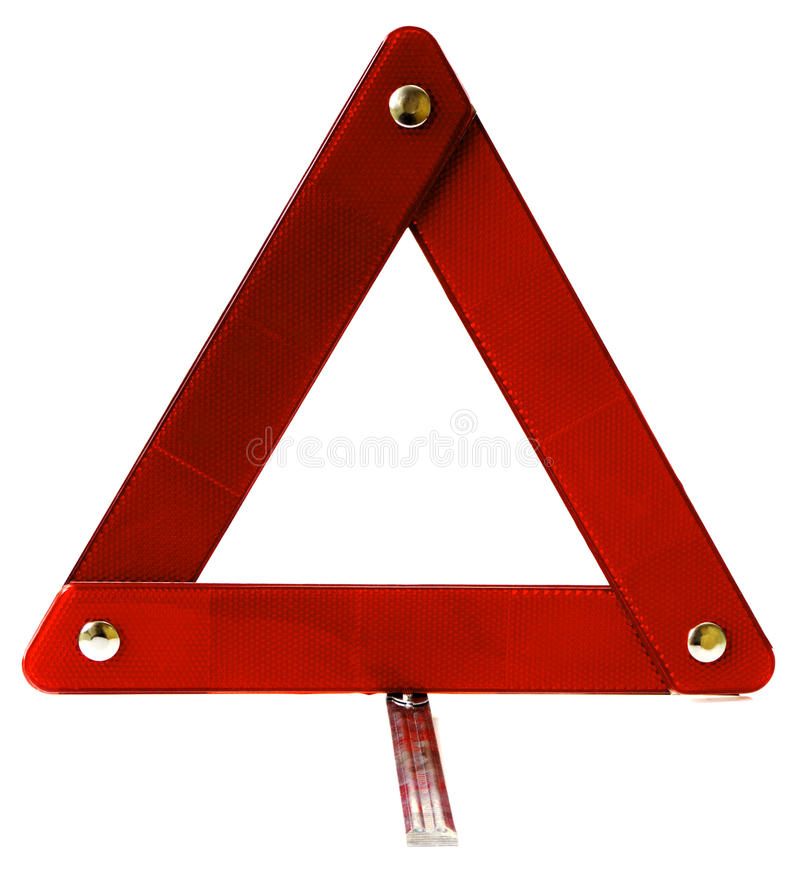 Signalization triangle for automobiles stock photography