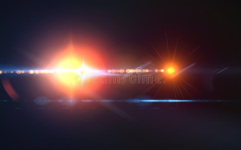 Signalljus för lins för strimma för grov spikbollwhit digital röd i horisontalsvart bakgrund royaltyfri illustrationer