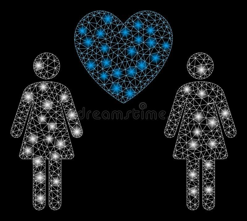 Signalljus Mesh Network Lesbi Love Pair med signalljusfläckar royaltyfri illustrationer