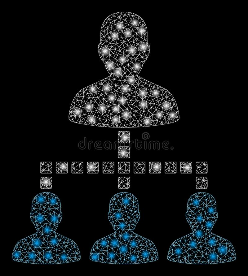 Signalljus Mesh Network People Hierarchy med signalljusfläckar royaltyfri illustrationer