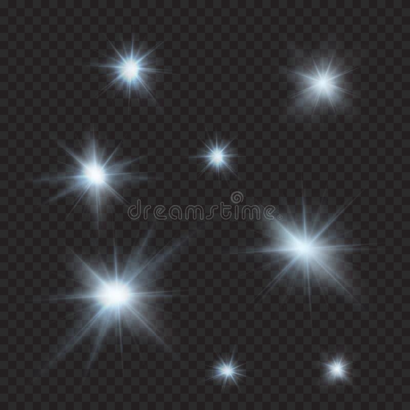 Signalljus mousserar, strålar, strålar, kalla ljusa effekter royaltyfri illustrationer
