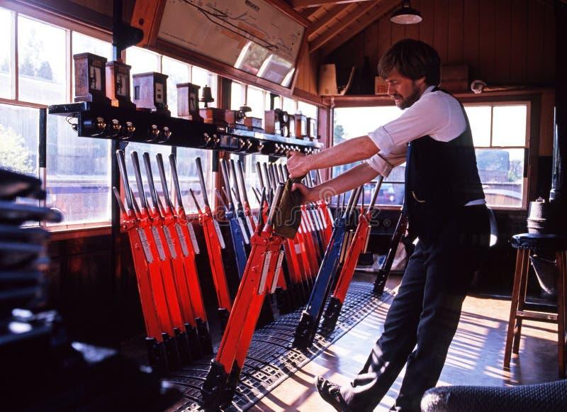 Signalman in signal box, Bridgnorth. stock photos
