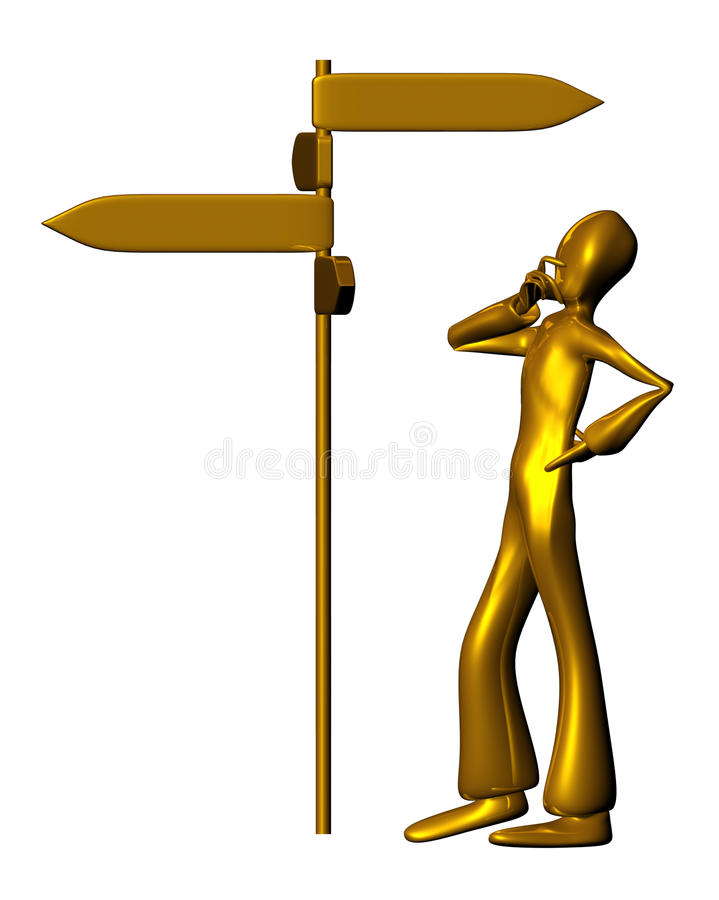 Signals. Doubtful 3d golden character isolated on a white background looks signals. See the rest of the series as well vector illustration