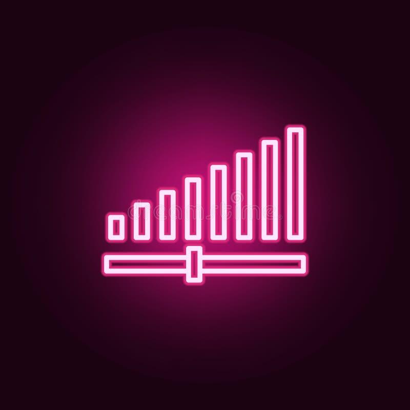 Signalstärkeikone Elemente des Netzes in den Neonartikonen Einfache Ikone für Website, Webdesign, mobiler App, Informationsgraphi lizenzfreie abbildung