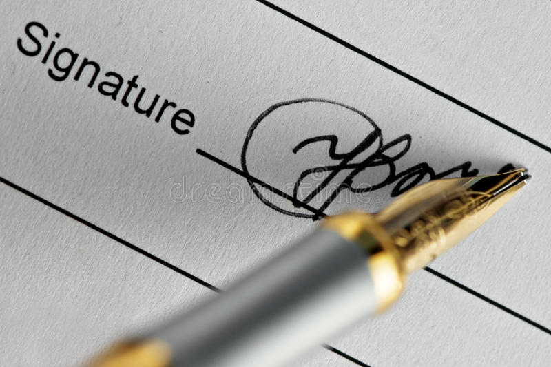 Signature. And pen close up royalty free stock photos