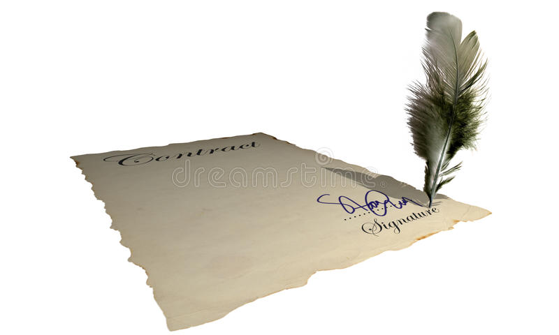 Signature. Signing a blank contract (with an abstract signature) - vintage picture vector illustration