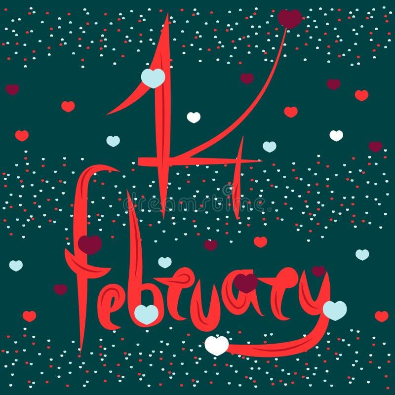 Signature artistique le 14 février, jour de St Valentine Des éléments romantiques sont employés - coeur Illustration de vecteur p illustration stock