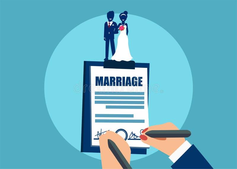 Signature d'un certificat de mariage illustration de vecteur