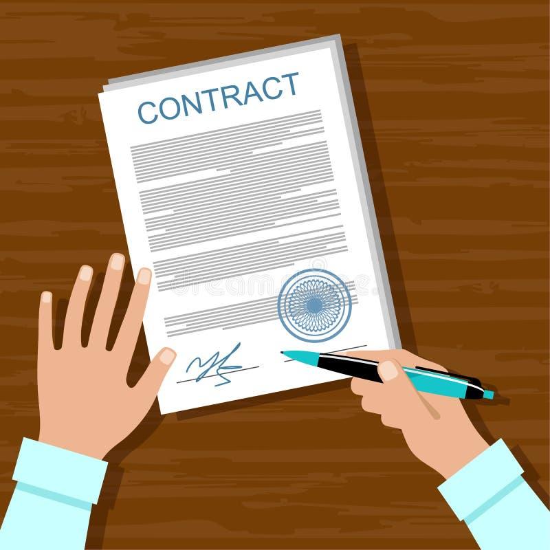 Signature d'un contrat illustration libre de droits