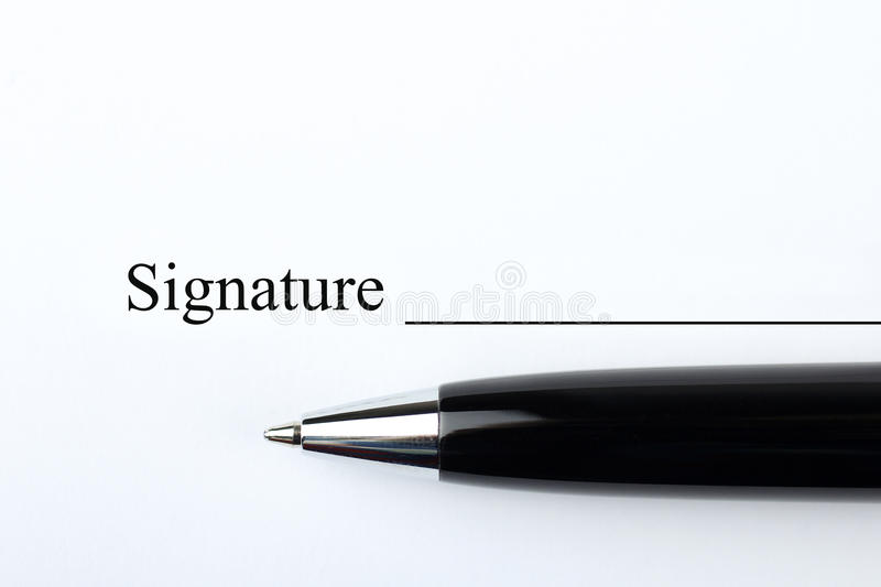 Signature d'un contrat photo stock