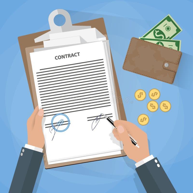 Signature de document d'homme d'affaires illustration libre de droits