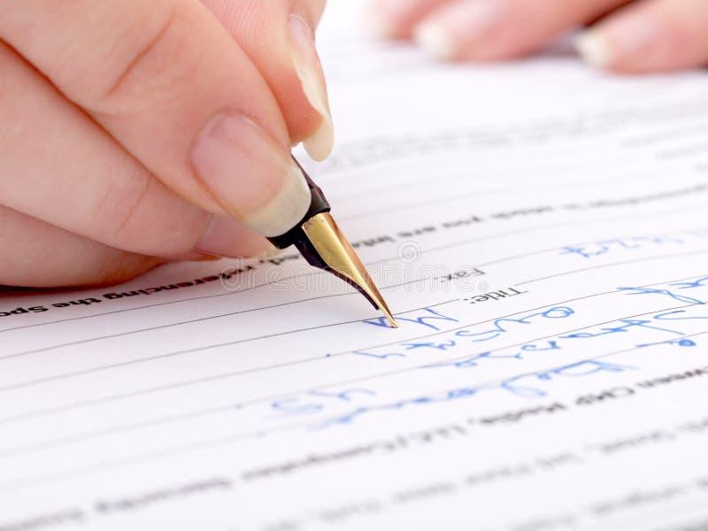Signature de main photos libres de droits