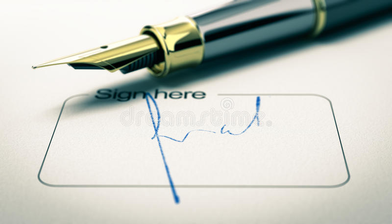 Signature on a Document. 3D illustration of a signature on a document with golden fountain pen. Concept of agreement or approval. Horizontal image stock illustration