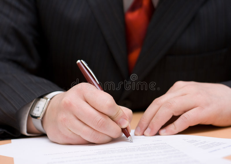 Signature du contrat photographie stock