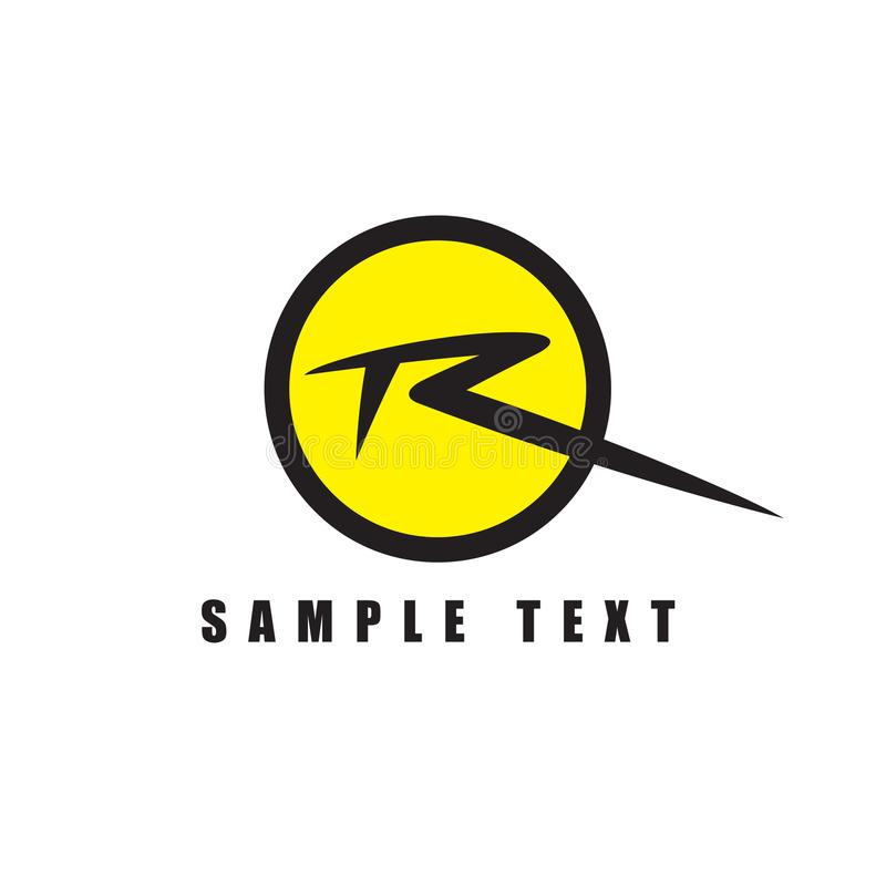 Signature Letter R Logo Design In Yellow Circle Icon Stock Vector