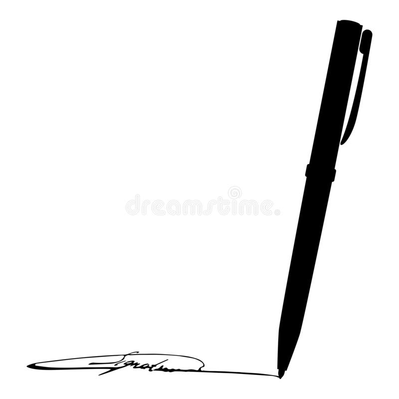 Signature using pen Ink writing concept icon black color vector illustration flat style image stock illustration