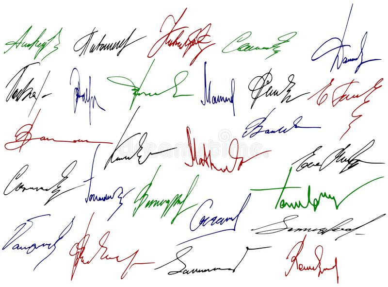 Signature writing signs.
