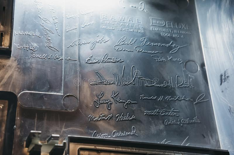Signatures on the inside of the computer case on exhibit inside Apple Museum in Prague, Czech Republic. Prague, Czech Republic - August 28, 2018: Signatures on royalty free stock images