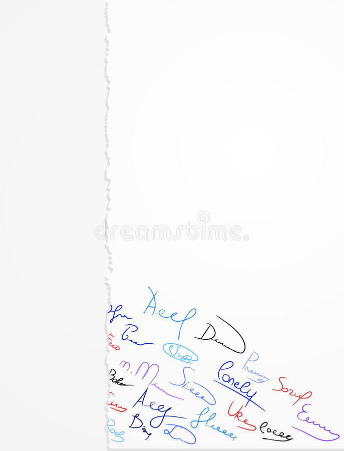 Download Signatures on a paper stock vector. Image of design, autograph - 22843822
