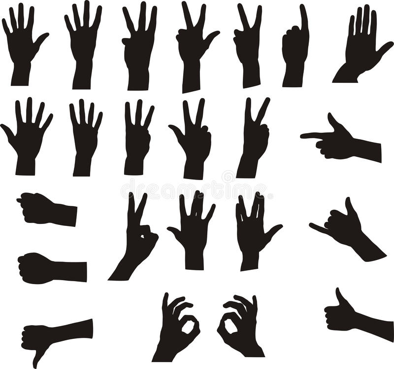 signaux de main assortis illustration de vecteur