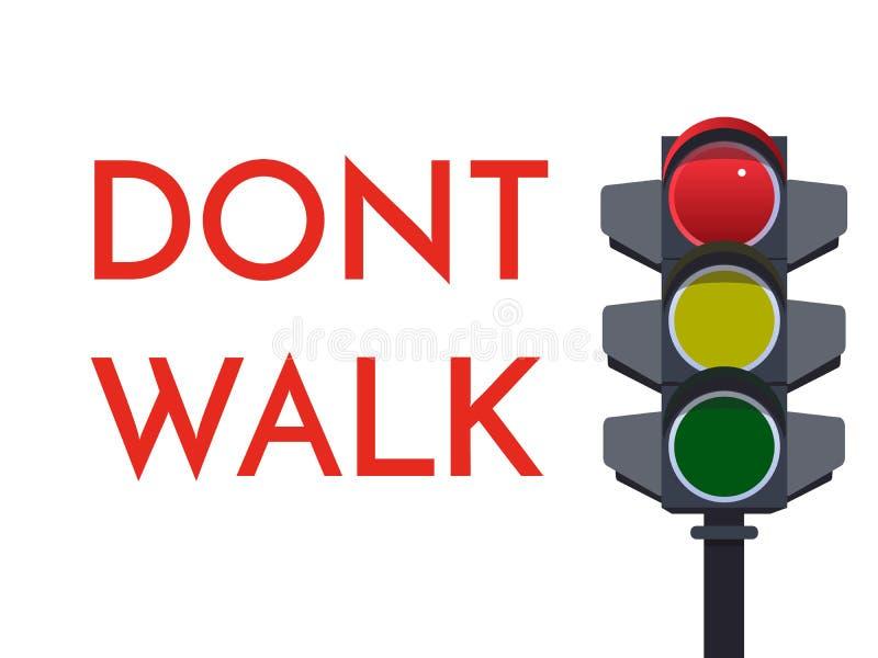 Signaux rouge-clair du trafic Ne marchent pas l'arrêt Illustration plate Sécurité Infographic Image de vecteur de sémaphore avec  illustration de vecteur