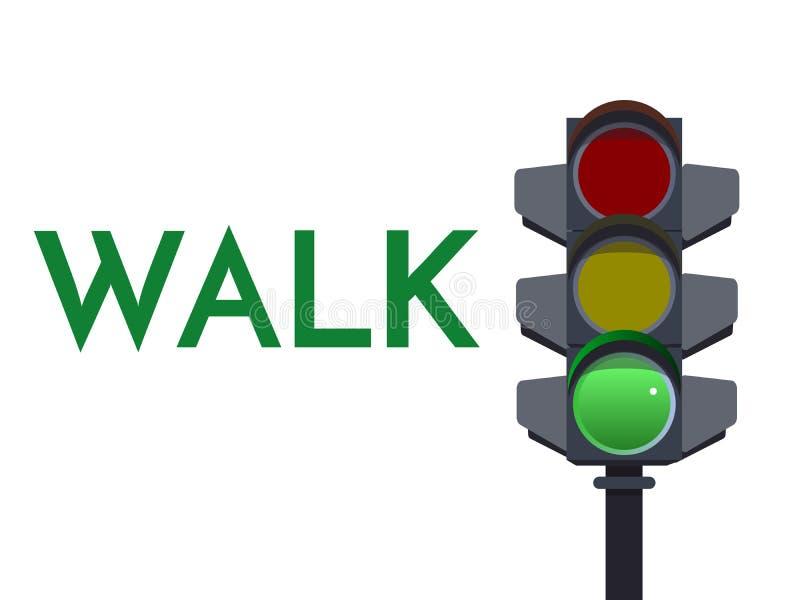 Signaux vert clair du trafic La promenade disparaissent illustration plate Sécurité Infographic Dirigez l'image de la sémaphore a illustration de vecteur