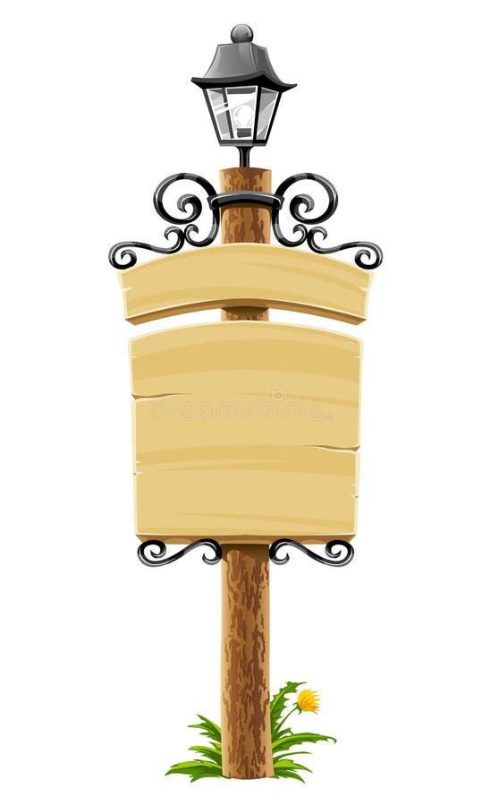 signboard столба фонарика деревянный иллюстрация вектора
